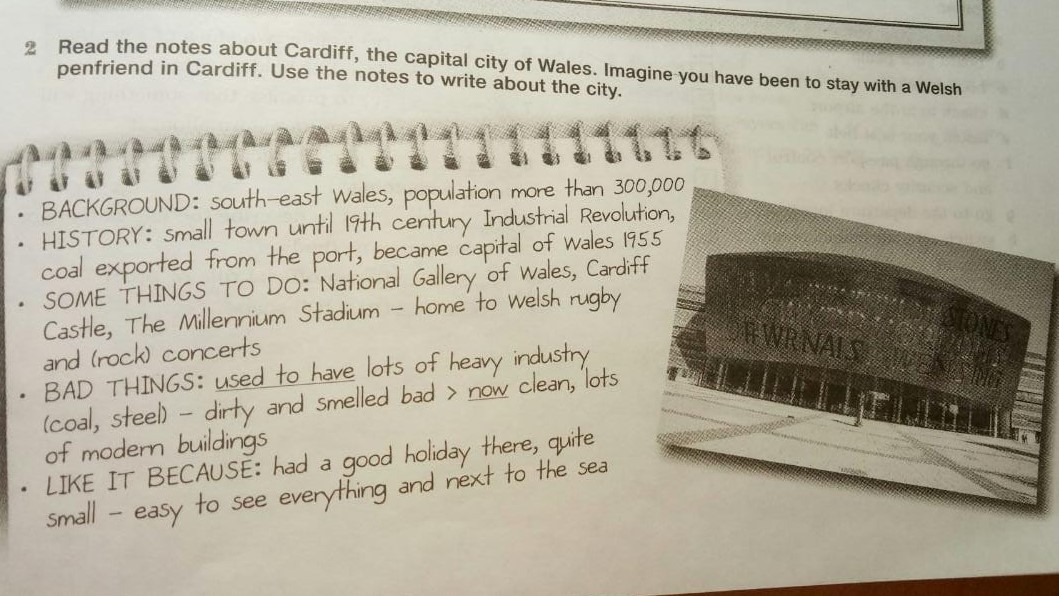 Read the notes about Cardiff, the capital city of Wales.